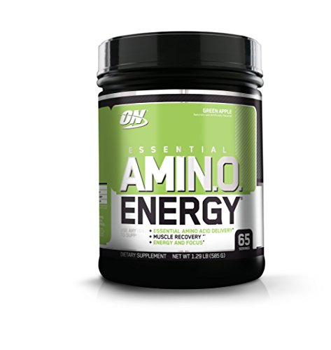 OPTIMUM NUTRITION ESSENTIAL AMINO ENERGY, Green Apple, Keto Friendly BCAAs, Preworkout and Essential Amino Acids with Green Tea and Green Coffee Extract, 65 Servings