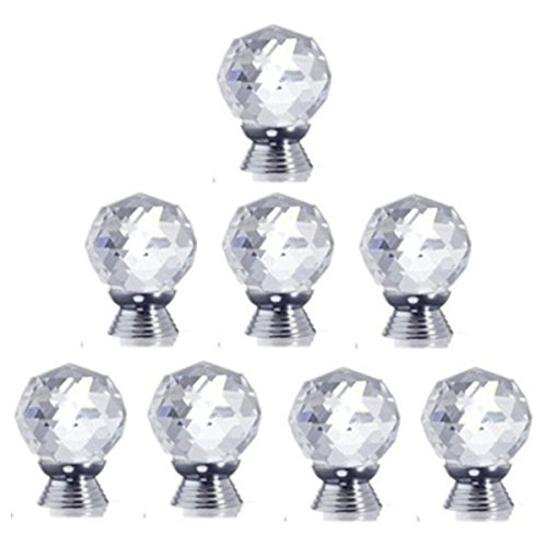 8 Pcs Crystal Glass Diamond Drawer Wardrobe Kitchen Cabinets Cupboard Door Pull Knobs - 8