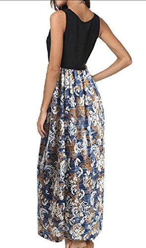 Jaycargogo Robes Casual Été Imprimé Femmes Maxi Sans Manches Longue Robe 1