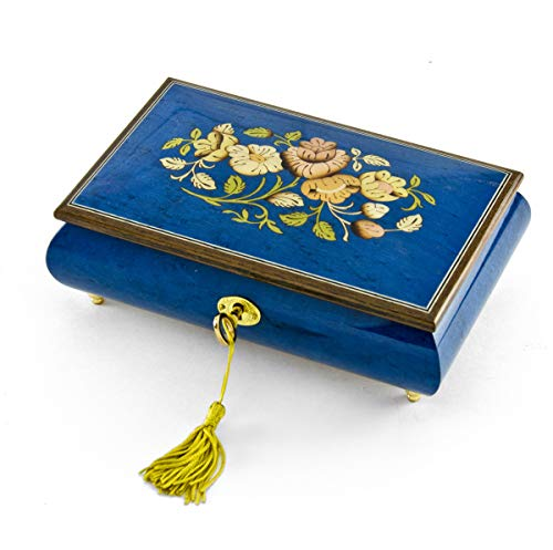 - Radiant 18 Note Royal Blue Floral Inlay Musical Jewelry Box with Lock and Key - Over 400 Song Choices - Wonderful Copenhagen