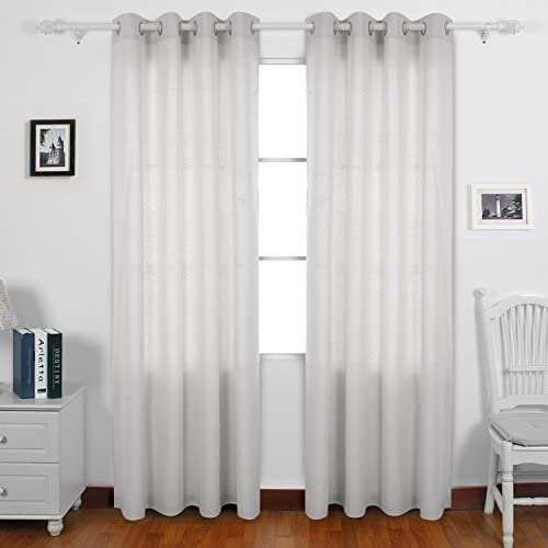 Deconovo Curtains Solid Recycled Cotton Window Panels Grommet Top Drapes for Sliding Glass Door, 52W x 95L Inch, Lilac Ash Grey