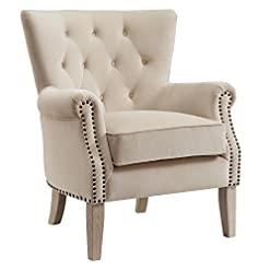 Farmhouse Accent Chairs Dorel Living Accent Chair, Beige farmhouse accent chairs