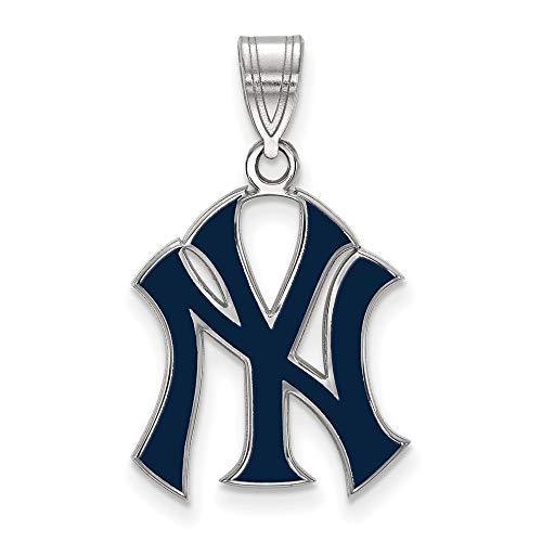 MLB New York Yankees Sterling Silver MLB LogoArt New York Yankees Lg Enl Pendant Size One Size ()