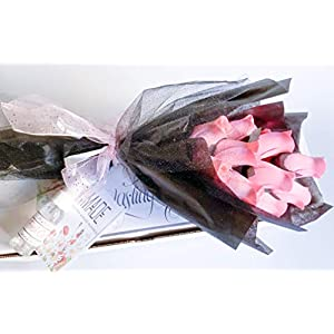 Pink Roses Bouquet One Dozen Artificial Scented Wood Flowers With Refresher Spray In A Box 63