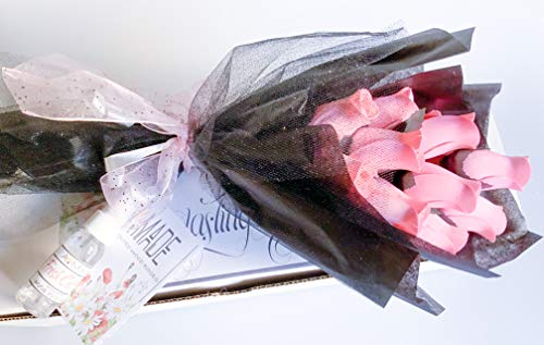 Pink Roses Bouquet One Dozen Artificial Scented Wood Flowers With Refresher Spray In A Box