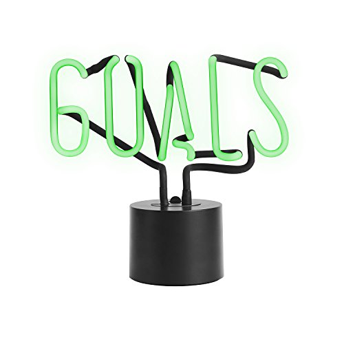 Amped & Co Goals Real Neon Light Handcrafted Novelty Desk Lamp, Large 9.6x9.6, Green Glass & Glow