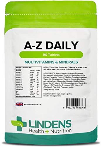 Lindens Multivitaminas A-Z en comprimidos diarios | 90 Paquete | Equilibrio perfecto de vitaminas y minerales