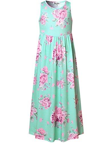Girls Maxi Dresses 7-16 Flower Sleeveless Summer Long Floral Green Casual Cute