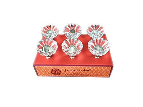 Clear Glass Cupboard Door Drawer Pull Knobs 6 Piece Set ()