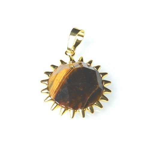 1 x Yellow/Brown Tiger Eye 25mm Pendant (Faceted Coin) - (CB52272) - Charming Beads ()