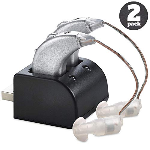 Digital Hearing Amplifiers - Pair of Rechargeable BTE Personal Sound Amplifier with USB Dock - Premium Behind The Ear Sound Amplification - by MEDca