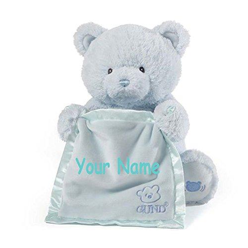 - Personalized GUND Animated Blue Peek-A-Boo Teddy Bear Plush Stuffed Toy Animal