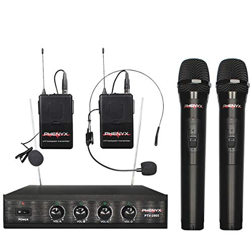 Wireless Mic System, Phenyx Pro 4-Channel VHF Cordless Micophone Set With 2 Handhelds/2 Bodypacks/2 Lapels/1 Headset, Metal Receiver, Ideal for Church, Meeting, Conference, Outdoor Events(PTV-2000B)