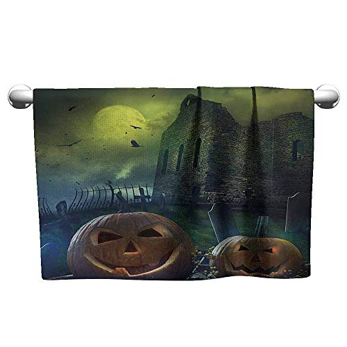 Halloween Decorations Quick Dry Towel Pumpkin in Spooky Graveyard in Old Stone Haunted House in Dark Night W19 x L19 Grey -