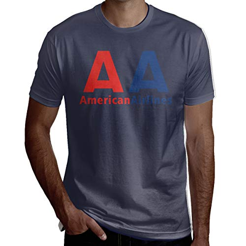 WGYWE American Airlines Logo Men Causal Workwear T-Shirt Crew Neck Short Sleeve Tee Navy ()
