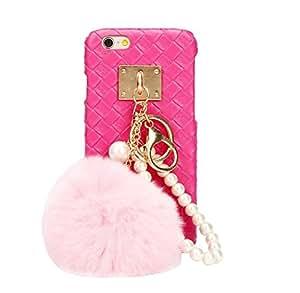 Ularma 2016 Moda Lujo peludo Hairball armadura duro caso cubrir para iPhone 6 plus/6S plus 5,5 pulgadas Rosa Roja