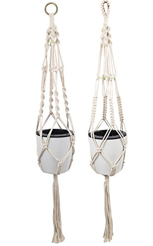 2 Pack Plant Hanger/Indoor Outdoor Cotton Rope Hanging Basket/succulent Plant Hanging Basket/Cotton Rope Plant Hanger 4 Legs 40 Inches (2)
