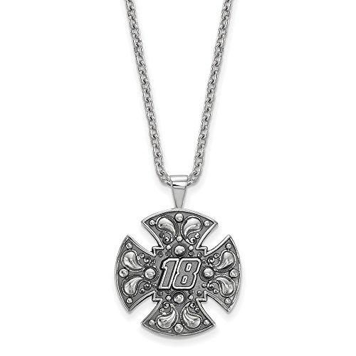 Sterling Silver Women's 18 Kyle Busch NASCAR Jewelry Pendants & Charms 21 mm 18 in BALI MALTESE Cross 18 CHAIN