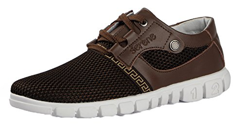 Serene Christmas Mens Mesh Moccasin Casual Fashion Sneakers(10.5 D(M)US, Brown)