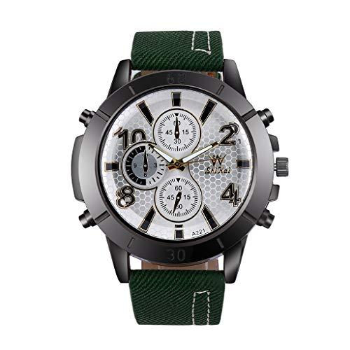 Wrist Watch for Men Waterproof Leather Men Three-Eye Large Dial Watch Business Watch Fashion Quartz Silica Gel Watch