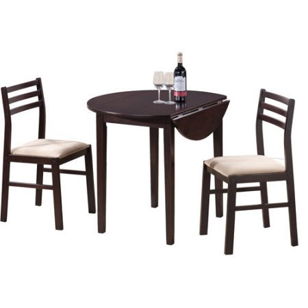 Coaster 588776 3-Piece Breakfast Dining Set, Include 1 Table & 2 Chairs, Drop-Down Extension, Wood Material, Cappuccino Color