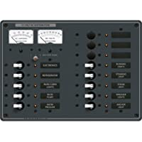 BLUE SEA SYSTEMS DC Distribution Panel, MFG# 8068, Ten 15 Amp breakers w/ white toggle switch and 3 open positions. Analog Volt & Amp meters. 12 VDC, with Negative bus and LED indicators. 10.5W x 7.5H. 50 Amp Max. / BS-8068 /