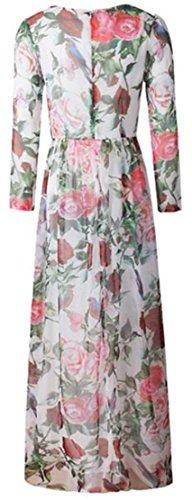 Neck Casual XS Crew Dresses Sleeve Long Floral Jaycargogo Women's 2 Maxi SZ1nx5g