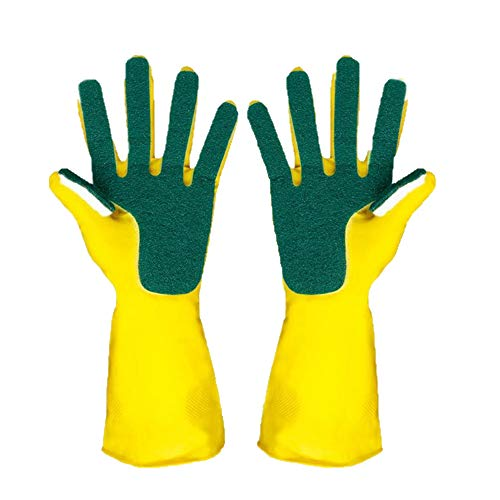 Hunputa Kitchen Wash Rubber Gloves with Scouring Cloth Sponge On The Inner Fingers, All-in-one for Clean The Kitchen Tool Protect Hand Gloves