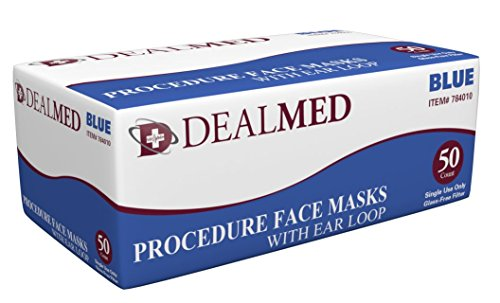 Dealmed Disposable Latex Free Blue Medical Face Mask with Ear Loops, 50 Per Box