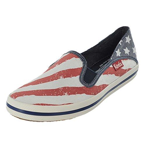 Keds Women's Crashback Patriotic Slip-On Sneaker, Red/White/Blue, 10 M US