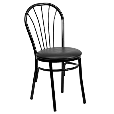 Flash Furniture HERCULES Series Fan Back Metal Chair - Black Vinyl Seat - Fan Back Design - kitchen-dining-room-furniture, kitchen-dining-room, kitchen-dining-room-chairs - 41UcY4BlzaL. SS400  -