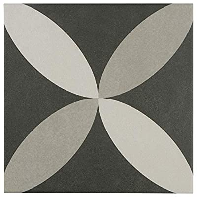 """SomerTile FRC8TWEP Fifties Ceramic Floor and Wall Tile, 7.75"""" x 7.75"""", White/Grey"""