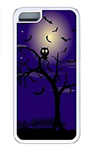 iPhone 5c Cases - Lovely Mobile Phone Two Trees Bats Halloween Moon In The Sky White Rubber Bumper Protecting Shell
