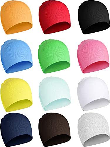 12 Pieces Baby Knit Hat Elastic Cotton Beanie Cap for Kid Outdoor Activity
