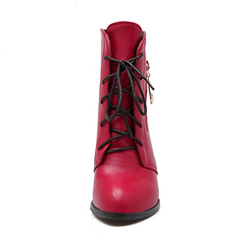 Girls Toe Round Red AdeeSu Boots Solid Janes Imitated Mary Leather wfxXSXOdTq