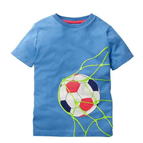 DIGOOD Teen Baby Boys Girls Short Sleeve Soccer T-Shirt Tops,for 1-8 Years Old,Kids Blouse Clothes Set (Blue, 3-4 Years -