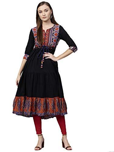 - Dream Angel Fashion Womens Tunic Top to Wear with Leggings Kurta Kurtis Indian Party Wear (Black, Small-34)