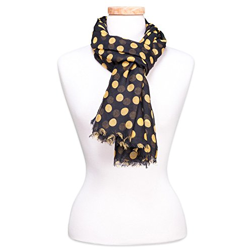 Tickled Pink Women's Game Day Sports Team Apparel Scarf or Wrap, Black/Gold, 36 x 70