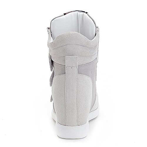 Middle Suede Sneakers Hook Wedge Women amp; Loop Grey1 Heel Hidden Fashion Upper Classic Risamrt YEaqgwg