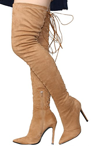 Pointy Toe Knee Boots Women's High Velveteen Thigh Fashion Khaki Heel Tie Stiletto Back The Lace Up Over qwwSAE5