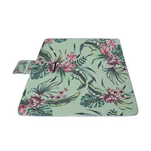 HTJZH Blankets Outdoor Tropical Banana Leaf Fern Frond Foldable Waterproof 57x79 Inch(144cm X 200cm) Girly Beach Blanket Long Mat Beach Sports Outdoor Blanket -