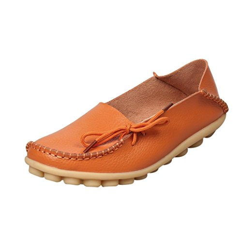 Soft Leather Non-Slip Flat Loahers,Byste Lace-up Decor Casual Shoes Slippers Peas Comfortable Outdoor Office Shoes Women Lady Girl Orange