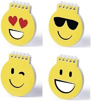 Lote de 20 Libretas Emoticonos Emojis - Libreta de divertidos diseños emoji en llamativo color amarillo. De anillas blancas, con tapas de cartón rígidas de suave acabado brillante y 40 hojas lisas