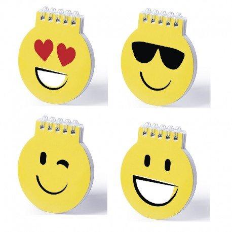 Lote de 20 Libretas Emoticonos Emojis - Libreta de divertidos diseños emoji en llamativo color amarillo