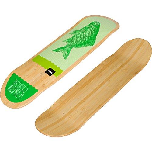Bamboo Skateboards Graphic Skateboard Deck (8.0, Green Fish) - Green 8.0 Skateboard