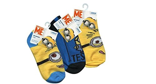 Despicable Me kids Anklet socks size 6-8.5 x 3 pairs (Despicable Me Shoes)