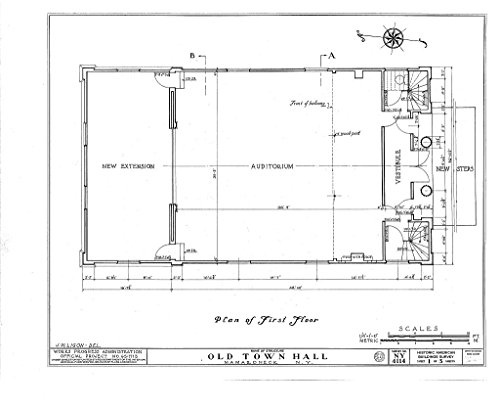 Historic Pictoric Blueprint Diagram HABS NY,60-Mama,1- (Sheet 1 of 5) - Old Town Hall, Prospect Avenue, Mamaroneck, Westchester County, NY 44in x 32in