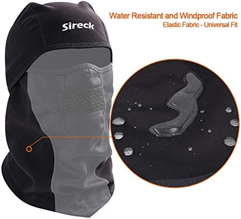 Sireck Cold Weather Balaclava Ski Mask, Water Resistant and Windproof Fleece Thermal Face Mask, Cycling Motorcycle Neck Warmer Hood Winter Gear for Men Women