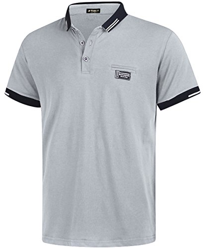 (Musen Men Short Sleeve Polo Shirt Cotton Regular Fit T-Shirts Grey L)