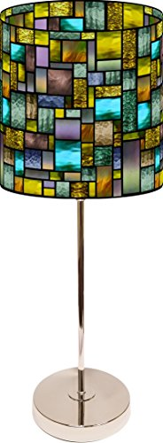 LampPix 10.5 Inch Custom Printed Table Desk Lamp Shade Solar Stained Glass Style Pattern. Includes Decorative Chrome 15 Inch Stand by LampPix